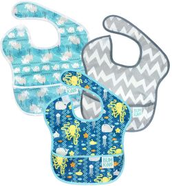 Bumkins SuperBib, 3 Pack - Sea Friends, Gray Chevron & Whales