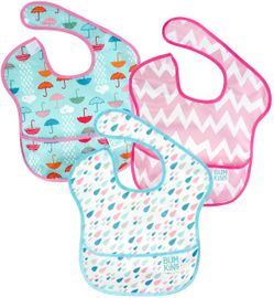 Bumkins SuperBib, 3 Pack - Umbrella, Raindrops & Pink Chevron