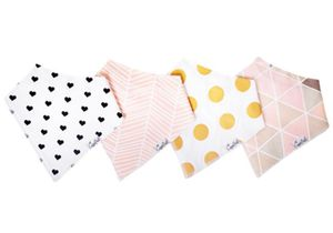 Copper Pearl Baby Bandana Bibs, 4 Pack - Blush