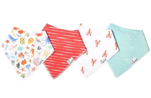 Copper Pearl Baby Bandana Bibs, 4 Pack - Nautical