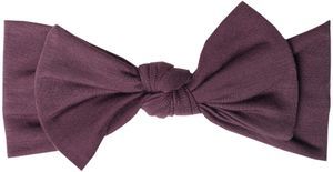 Copper Pearl Knit Headband Bow - Plum