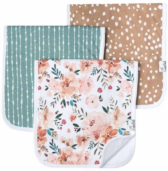 Copper Pearl Premium Burp Cloths, 3 Pack - Autumn