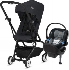 Cybex Eezy S Twist + Aton M Travel System - Lavastone / Pepper Black