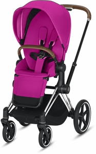 Cybex ePriam Stroller - Chrome/Brown/Fancy Pink (Albee Exclusive)