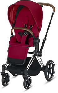 Cybex ePriam Stroller - Chrome/Brown/True Red (Albee Exclusive)