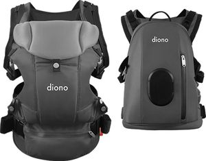 Diono Carus Complete 4-in-1 Baby Carrier + Detachable Backpack - Light Grey