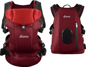 Diono Carus Complete 4-in-1 Baby Carrier + Detachable Backpack - Red