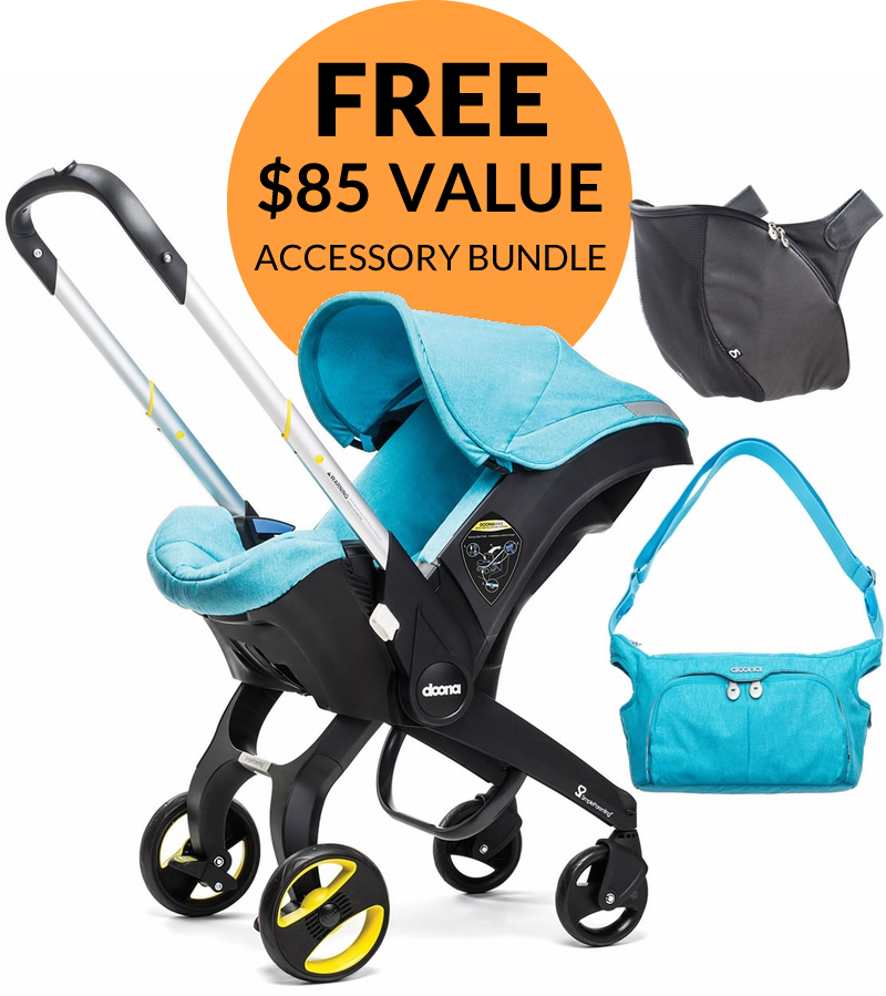 Doona Infant Car Seat + Accessory Bundle - Sky (Turquoise)