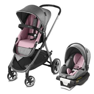Evenflo GOLD SensorSafe Shyft Smart Modular Travel System with SecureMax Smart Infant Car Seat - Opal Pink