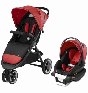 Evenflo GOLD SensorSafe Verge3 Smart Travel System with SecureMax Smart Infant Car Seat - Garnet Red