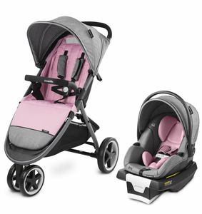 Evenflo GOLD SensorSafe Verge3 Smart Travel System with SecureMax Smart Infant Car Seat - Opal Pink