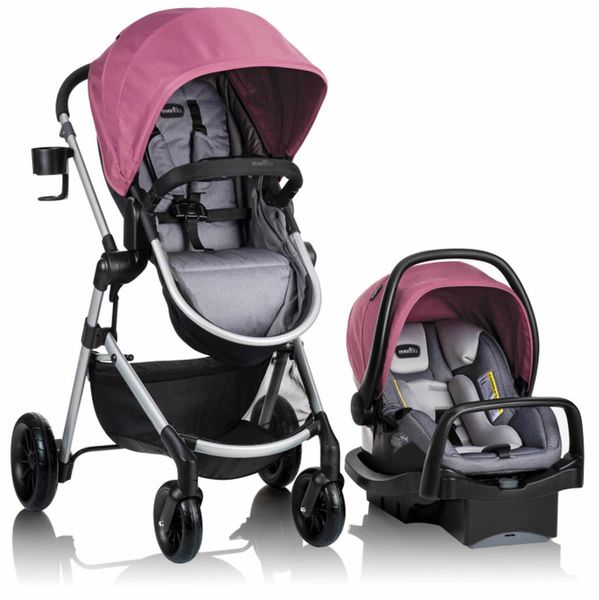 Evenflo Pivot Modular Travel System With Safemax Infant Car Seat - Dusty Rose