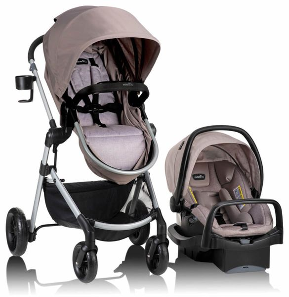 Evenflo Pivot Modular Travel System With SafeMax Infant Car Seat - Sandstone