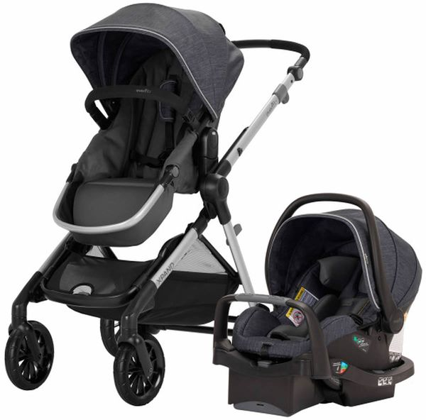 Evenflo Pivot Xpand Modular Travel System With SafeMax Infant Car Seat - Roan