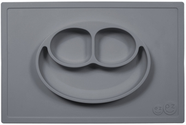 EZPZ Happy Mat Placemat & Plate - Gray