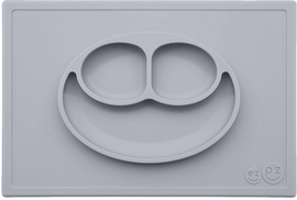 EZPZ Happy Mat Placemat & Plate - Pewter