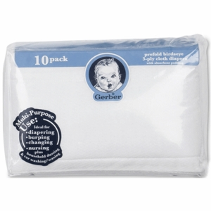 Gerber White 10 Pack Prefold Birdseye 3-Ply Cloth Diapers with Absorbent Padding