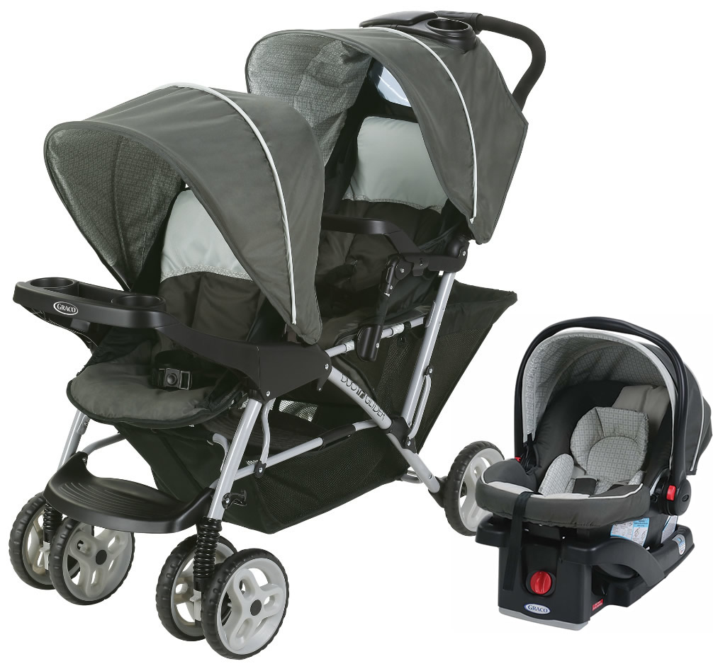 Graco Duoglider Click Connect Double Stroller With Car Seat Glacier