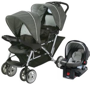 Graco DuoGlider Click Connect Double Stroller with Car Seat - Glacier