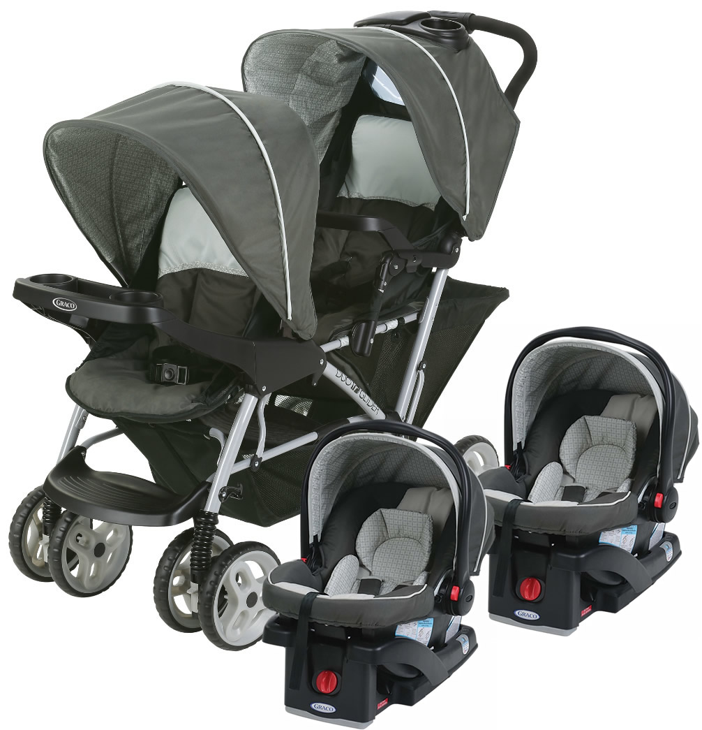 Graco DuoGlider Click Connect Double Stroller With Two Car Seats