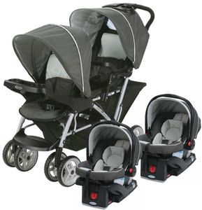 Graco DuoGlider Click Connect Double Stroller with Two Car Seats - Glacier