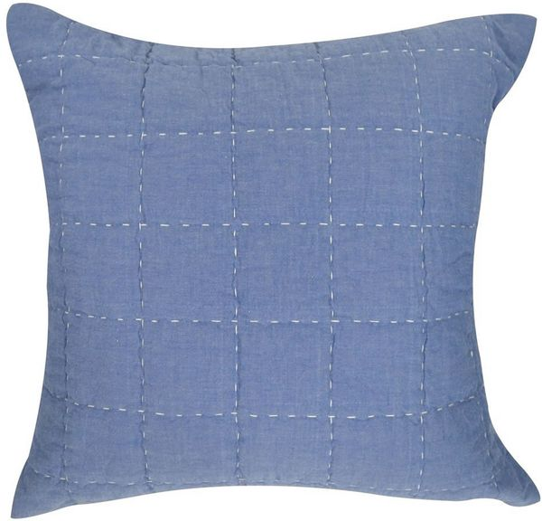 Hello Spud Decorative Pillow with Stuffer - Box Quilt Blue