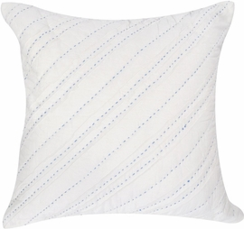 Hello Spud Decorative Pillow with Stuffer - Diagonal Pintuck Blue