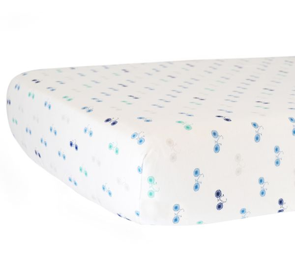 Hello Spud Organic Cotton Fitted Crib Sheet - Blue Bicycles
