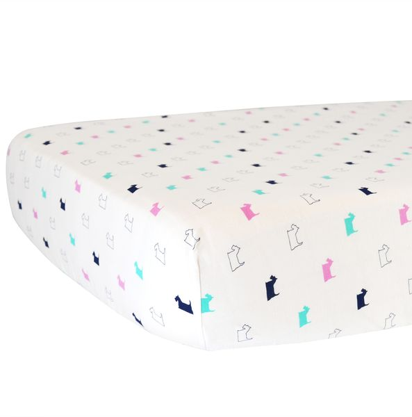 Hello Spud Organic Cotton Fitted Crib Sheet - Girl Scottie Dogs