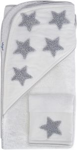 Hello Spud Organic Cotton Hooded Towel and Washcloth Set - Gray Stars