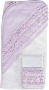 Hello Spud Organic Cotton Hooded Towel and Washcloth Set - Petite Ruffle Lavender