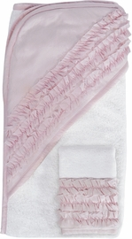 Hello Spud Organic Cotton Hooded Towel and Washcloth Set - Petite Ruffle Pink
