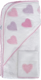 Hello Spud Organic Cotton Hooded Towel and Washcloth Set - Pink Hearts