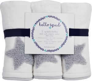 Hello Spud Organic Cotton Washcloth 3-Pack - Gray Stars