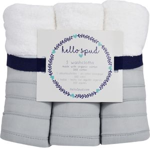 Hello Spud Organic Cotton Washcloth 3-Pack - Petite Ruffle Pink
