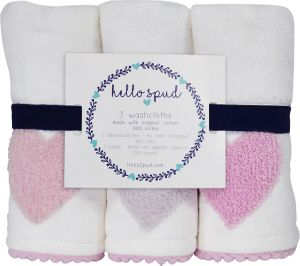 Hello Spud Organic Cotton Washcloth 3-Pack - Pink Hearts