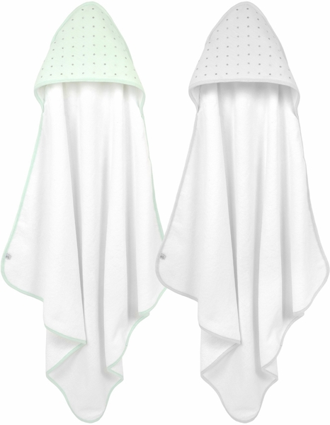 Just Born Hooded Towel Set, 2-Pack - Mint/Gray