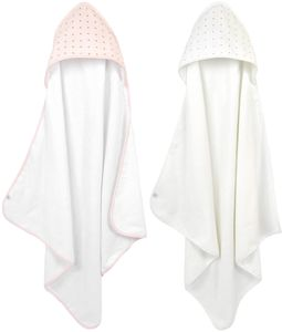 Just Born Hooded Towel Set, 2-Pack - Pink/White