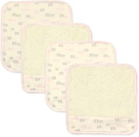 Just Born Organic Washcloths, 4-Pack - Pink Elephant
