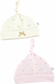 Just Born Sparkle Hats, 2 Pack - Pink / Ivory