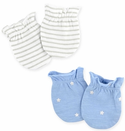 Just Born Sparkle Mittens, 2 Pack - Blue / White