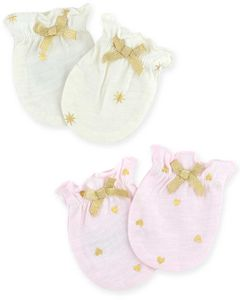Just Born Sparkle Mittens, 2 Pack - Pink / Ivory