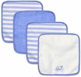 Just Born Washcloths, 4-Pack - Clouds Blue