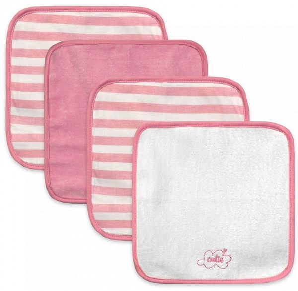 Just Born Washcloths, 4-Pack - Clouds Pink