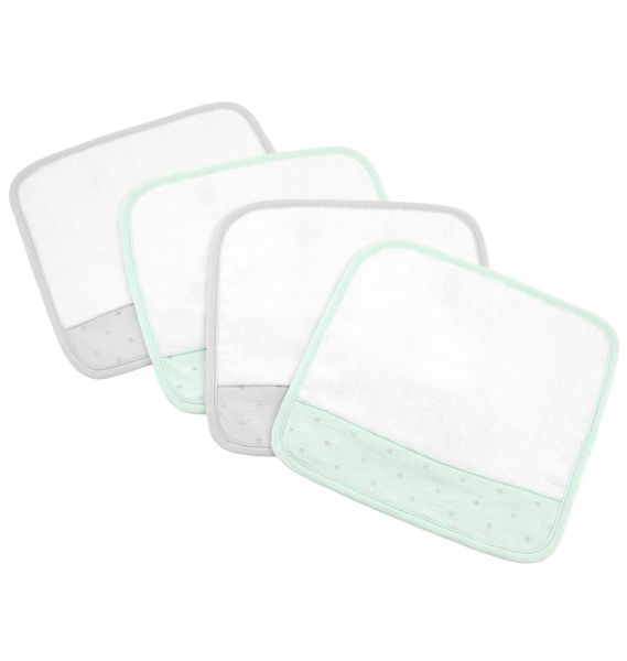 Just Born Washcloths, 4-Pack - Mint/Gray