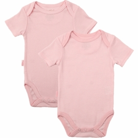 Kushies Baby Short Sleeve Solid/Stripe Bodysuit in Pink- 6 Months