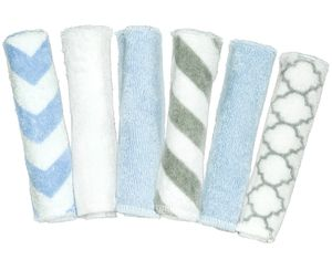 Kushies Single Ply Washcloths, 6-Pack - Boy (Prints)