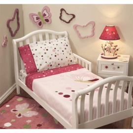 Lambs & Ivy Raspberry Swirl 4 Piece Toddler Bedding Set
