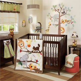Lambs & Ivy Treetop Buddies 4 Piece Crib Bedding Set