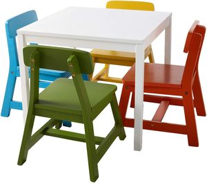 Lipper International 5-Piece Child's White Square Table & Multicolor Chairs